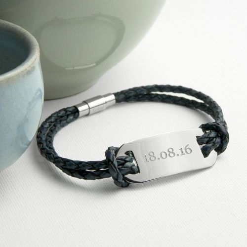 Personalised Statement Leather Bracelet In Navy